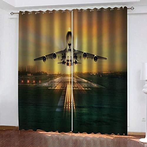 Rvvaceo Sunset Airport Airplane 3D Digitaldruck Polyesterfaser Vorhänge Wohnzimmer Küche Schlafzimmer Verdunklungsvorhänge Perforierte Vorhänge 2-teiliges Set 150 (B) x 166 (H) cm Jungen Vorhang