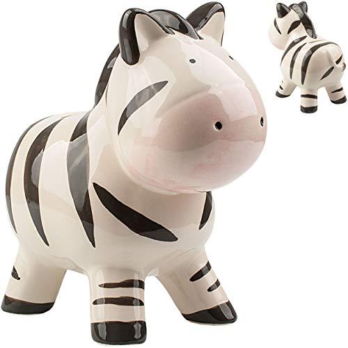 alles-meine.de GmbH große XL Spardose _ Motivwahl _ süßes Zebra - stabile Sparbüchse - aus Porzellan / Keramik - mit Verschluss - 18 cm - Sparschwein - für Kinder & Erwachsene / ..