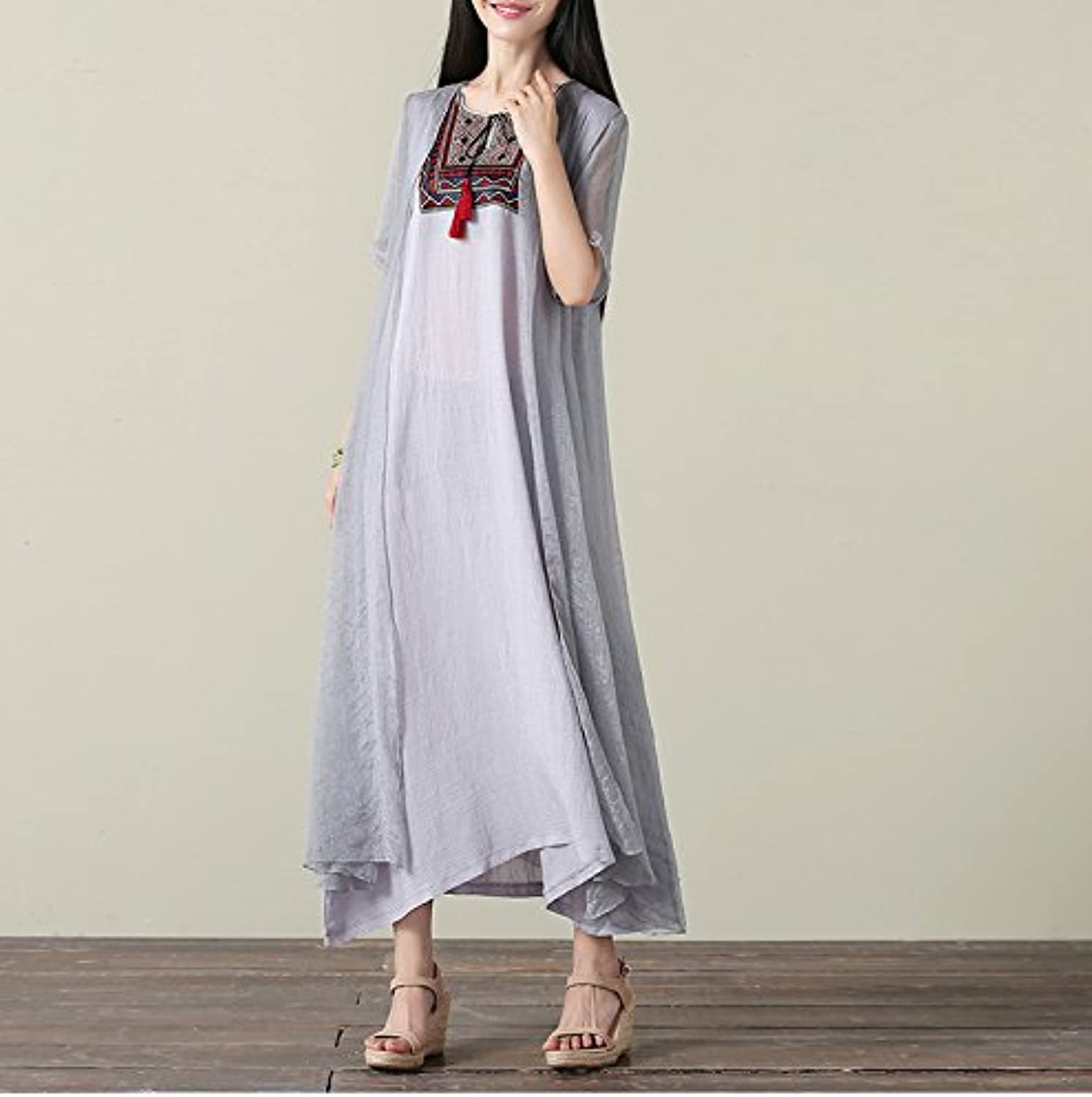 XIURONG Female Summer Embroidery Silk Flax Dress Big Code Loose Dress Long Skirt