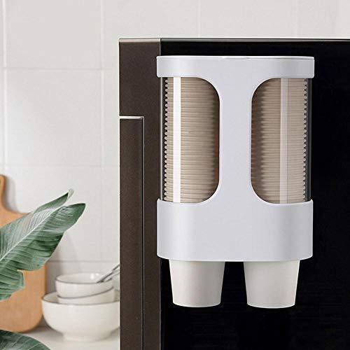 Topzon Dispenser-Becherhalter - Transparent Wasserspender Becherhalter Einweg Automatische Cup Storage Rack Shelf Weiß