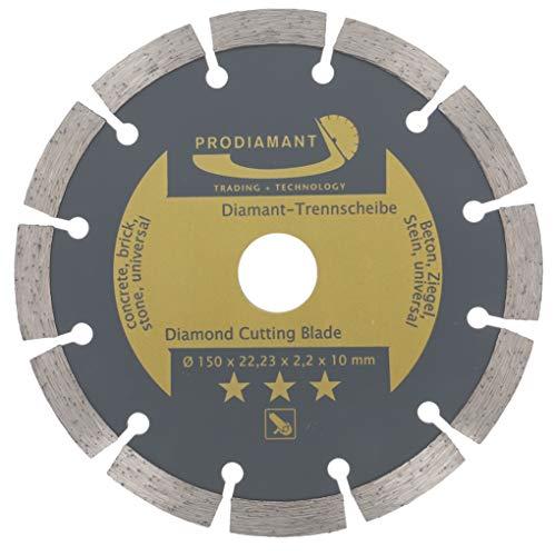 PRODIAMANT Disco de corte de diamante 150 mm para hormigón, piedra, ladrillo, universal, para cortar en seco y húmedo