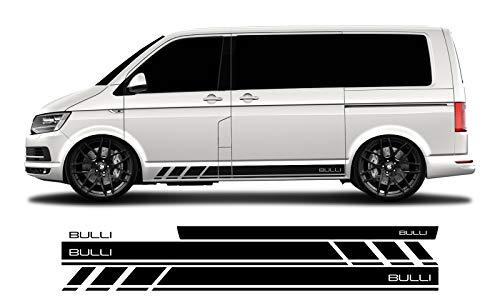 WRAP-SKIN Seitenstreifen Set Bulli passend für VW T4 T5 T6 Seitenaufkleber Aufkleber WS-03-08-10011 070M Schwarz Matt