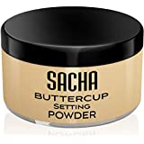 Sacha BUTTERCUP Setting Powder. No Ashy Flashback. Blurs Fine Lines and Pores. Loose, Translucent Face Powder to Set Makeup Foundation or Concealer. For Medium to Dark Skin Tones, 1.25 oz.