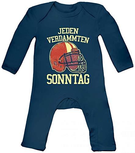 American Football Gruppen Fan Baby Strampler Langarm Schlafanzug Jungen Mädchen Jeden verdammten Sonntag 2, Größe: 6-12 Monate,Nautical Navy