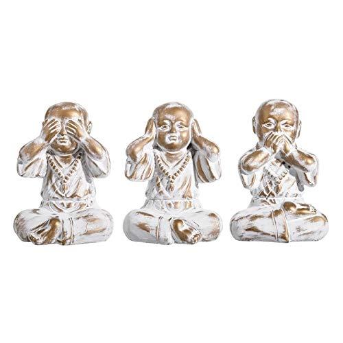 D,casa - Set 3 figurita Buda de Suerte Decoracion 22 cm (Ver, oir, callar)