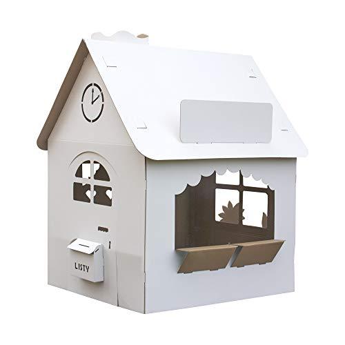 EcoEdu House - Casa de cartón grande para niños, para jugar y pintar. La gran casa plegable es un juego de niños común y creativo con los padres
