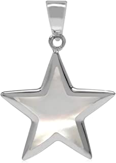 Silvershake Star Shape Inlay White Gold Plated 925 Sterling Silver Five Point Star Pendant Jewelry for Women and Teens