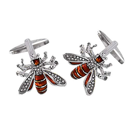 chiwanji Crystal Bee Copper Wedding Formal Wear Fashion Insect Cufflinks for Men Gift