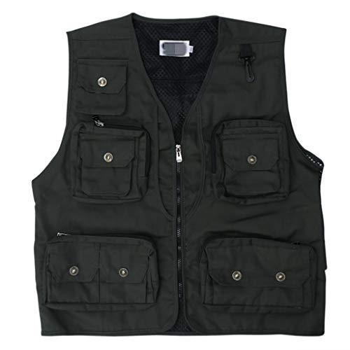 JERKKY Visvest, multifunctionele tas, ademende jas, veiligheid outdoor, sport, fotografie, kleding, heren, Quick Dry-mode, meerdere tassen, groen, maat 2XL