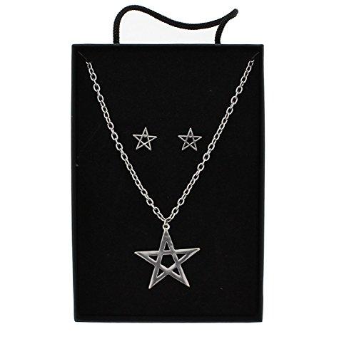 Zac's Alter Ego® Rhodium Pentagram Necklace & Earrings Set in Gift Box