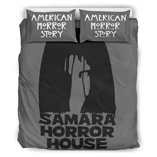none brand A-Horror-Story horror house Elegant Comfort Luxurious & Softest Three-piece Bed Set A duvet cover & two pillowcases for Home American white 104x90 inch
