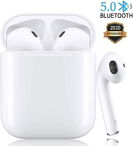 Bluetooth 5.0 Wireless Earbuds Headsets Bluetooth Headphones 【24Hrs Charging Case】 3D Stereo IPX5 Waterproof Pop-ups Auto Pairing Fast Charging for Earphone Samsung Apple Airpods Pro/Airpods/Airpod 2