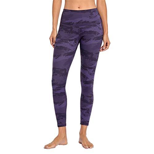 Pandodut Leggings sin Costuras de Cintura Alta para Mujer Leggings de Yoga elásticos Fitness Running Gym Bolsillos Deportivos Purple XXL