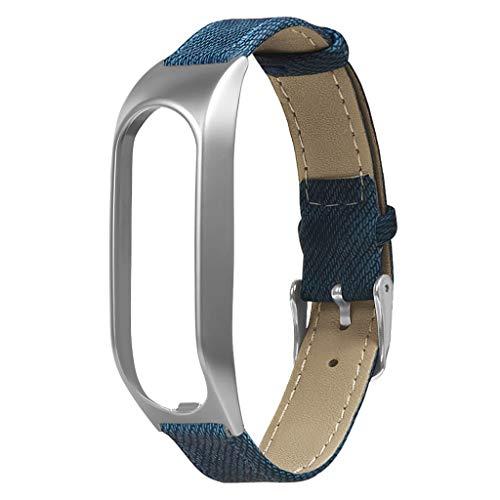 Ixkbiced Reloj de Pulsera de Lona de Mezclilla de Cuero Vintage Correa de Reloj Caja de Metal Correa de Pulsera Reemplazo para Accesorios de Reloj Inteligente Tomtom Touch