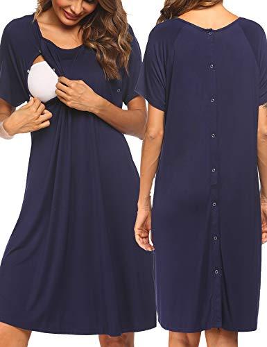 Pinspark Stillnachthemd Knopfleiste Durchgehend Damen Nachthemd Nachtkleid Kurz Nachtwäsche Negligee Umstandskleid Stillnachthemd Oversize Sleepshirt Navy Blau XL