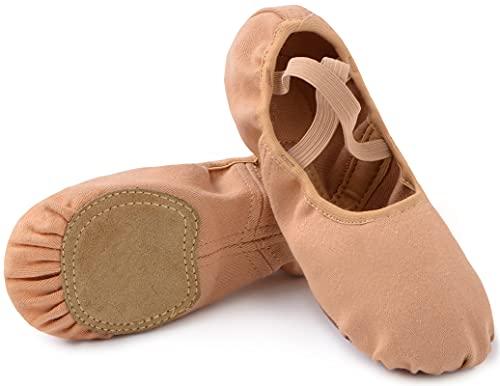Zapatillas de ballet con suela dividida para niños y adultos, tallas 23-45, marrón, 39 EU