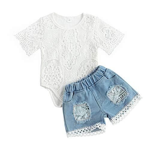 Geagodelia Kinder Mädchen Sommer Outfit 2PCS Kurzarm Bluse + Lang Denim Jeans Hosen 1-6 Jahre Schulterfrei Top Babykleidung Set Baby Mädchen Kleidung (Weiß Body+Shorts, 18-24 Monate)