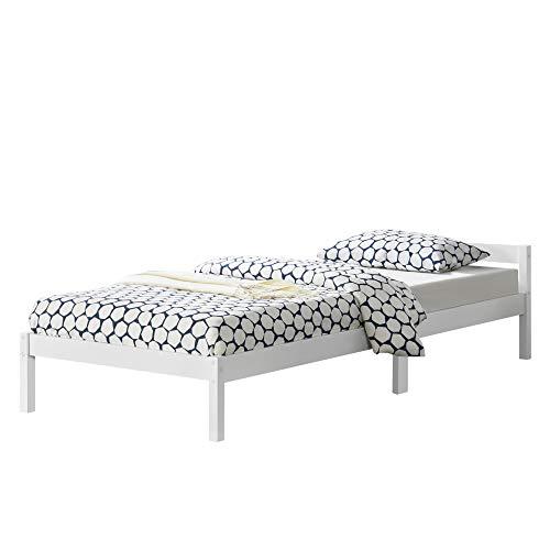 [en.casa] Struttura Letto in Legno di Pino 120 x 200 cm con Testiera Bassa Letto 1 Piazza e Mezza in Design Minimal - Bianco