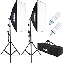 ESDDI Softbox Photography Lighting Kit 800W Continuous Photo Studio Equipment with 2 x 50 x 70 cm Reflectors and 2 x E27 Socket 5500K Bulbs for Portraits Fashion and Product Shooting