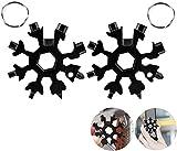 2 Pack 18 in 1 snowflake Multitool, Stainless steel Multi Tools Screwdriver Keychain Snowflake Multi-Tool Card Bottle Opener, Camping Equipment EDC Tactical tool (2 Black)