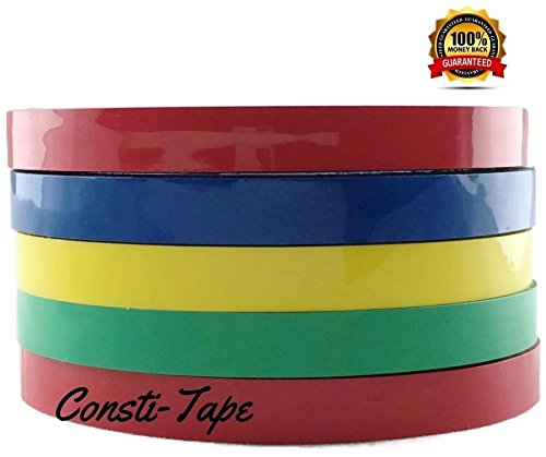 """Constitape Bag Sealing tape, 3/8"""" x 200 Yards 5 Rolls (1Green, 1Yellow, 2red, 1blue) 200 Yards Total"""