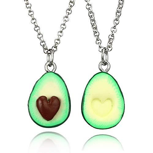 Juego de 2 collares de frutas para mejores amigos, pareja, graduación, regalo de San Valentín, forma de corazón, bonito aguacate de arcilla 3D para mujeres y hombres