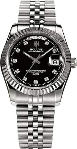 Loluka Herren Uhr Analog Quarz Edelstahl Armband Silber Datum Mode Elegant Design