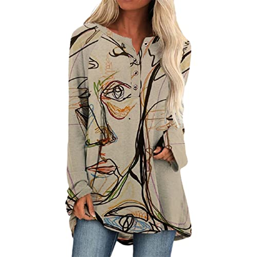 FAVIPT Vintage Graphic Print Long Sleeve Tunic Tops for Women,Button Down Shirts O Neck Pullover Flowy Blouse Loose Fit Tunic Khaki