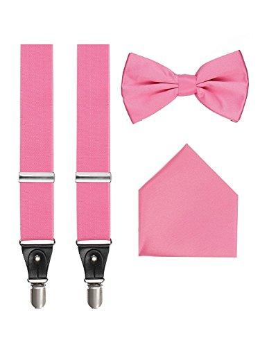 3-teiliges Set mit Hosenträgern und Fliegen - Pink - Einheitsgröße