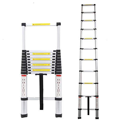 Alu Teleskopleiter 2,6M/3,2M/3,8M/4,4M Ausziehbare Leiter, Klappleiter Stehleiter Rutschfester, aus hochwertigem Aluminium, Ausziehleiter Mehrzweckleiter, Haushaltsleiter 150 kg Belastbarkeit