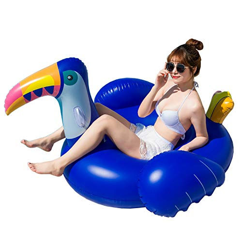 ZKHD Flotadores de la Piscina de tucán Azul Inflable, Ride-on para la Playa de la Piscina Playa de la Fiesta al Aire Libre de la Playa de la Playa de la Playa de los Juguetes para Adultos y niños