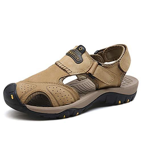 luckymeet Sandalias de playa para hombre al aire libre casual zapatos Baotou moda zapatos de cuero hombres transpirable tamaño grande sandalias deportivas adecuadas para viajes y senderismo 9.5 caqui
