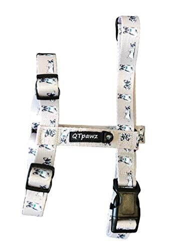 QTpawz French Bull Dog Lightweight Adjustable Harness - Step in Design Perfect for Medium & Large French Bulldogs (Large)