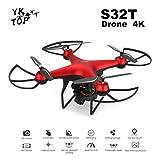 Shenykan S32T ESC VR3D Mode 360 degrés Flip & Roll 4K ESC Lens RC Drone HD Gesture Camera Antichoc RC Aircraft 2 Battery - Rouge