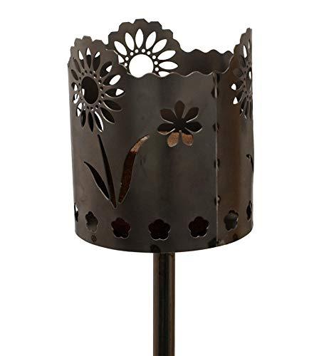 Unbekannt Gartenfackel auf Stecker aus Metall, Motiv Gänseblümchen, mit Brennelement