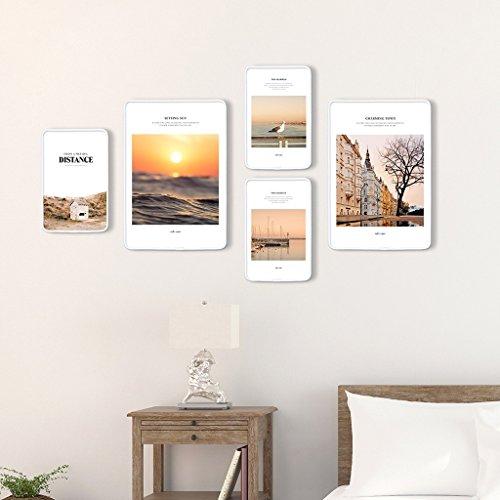 Ensemble de cadre photo, 5 Set Collage de cadres photo, combinaison créative, en bois massif (Couleur : C)