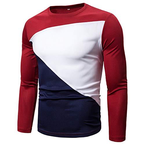 MENHG Mens Patchwork Contrast Colour Knit Shirt Jumper Pullover Blouse Sweatshirt Men Long Sleeve Crew Neck Slim Fit Casual Warm Corduroy Fleece Knitwear Gym Tennis Sports Tops Outwear Coat Sweater