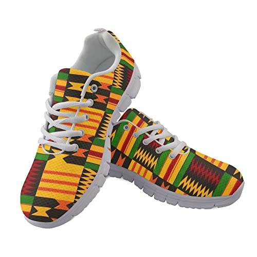 Jeiento Running Shoes for Women Teenage Girl African Style Lacing Anti-Skid Outdoor Trail Fashion Sneakers Size US 11