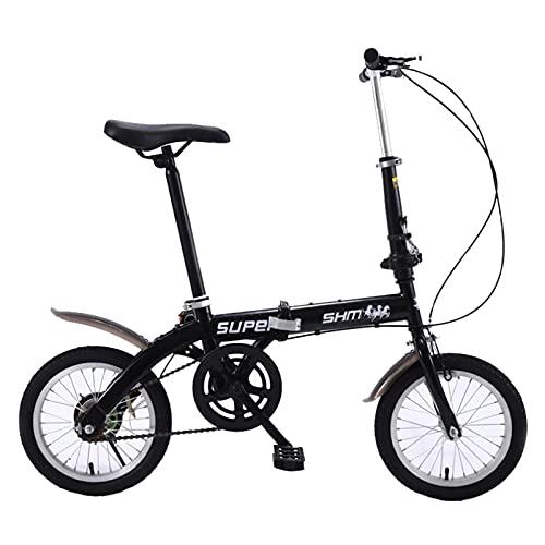 ZXQZ Bicicleta Plegable, Bicicletas de Carretera Urbanas de 14 '', Bicicleta con Freno Delantero Y Trasero En V para Hombres Y Mujeres (Color : Black)