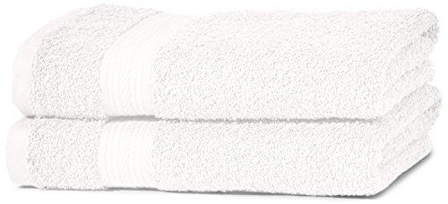 AmazonBasics kleurvaste handdoekenset van 2 handdoeken, wit (forever white) 500 g/m2