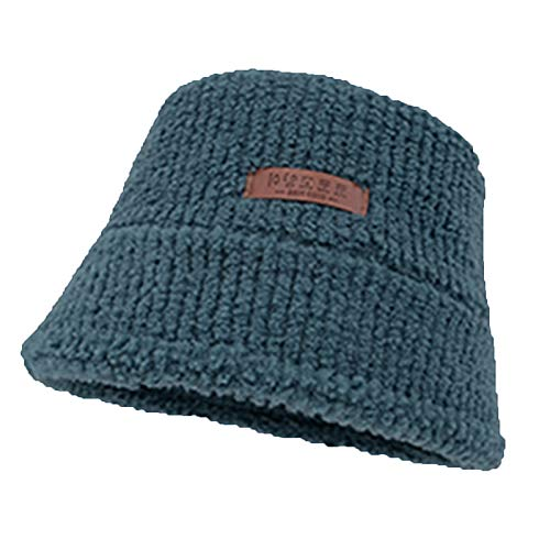 Teddy Style Plush Bucket Hat, Lamb Wool Basin Cap with Korean Small Leather Label,Blue