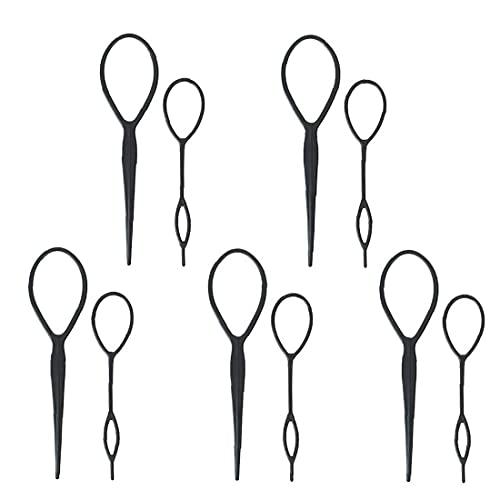 Cheveux Braid Maker PonyThail Styling Maker PonyTail Topsy Top Boucle de queue en plastique Résine en plastique Coiffure Tool Accessoires Black 5 Set 10pcs