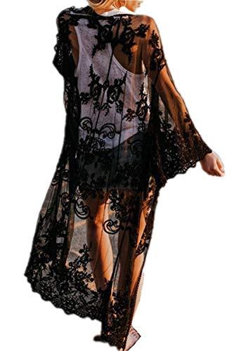 AiJump Caftán floral de encaje de la cubierta del bikini Hasta Bohemia vestido maxi del bañador del kimono para Mujer Talla nica Negro, Negro 2