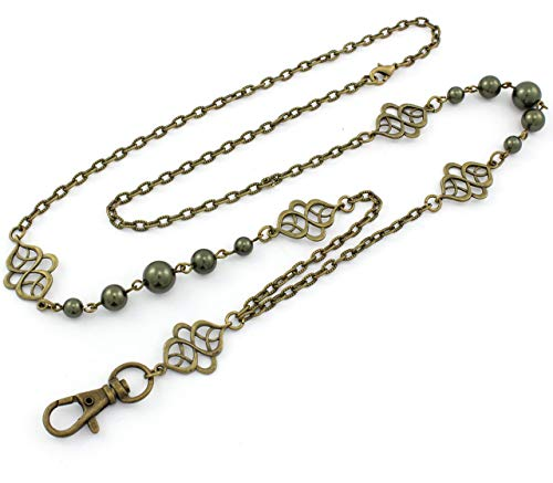 Brenda Elaine Jewelry Non-Tarnishing Women's Fashion Lanyard Necklace ID Badge Holder, 32 Inch Antique Brass Chain and Celtic Accents with Dark Green Color Pearls & Rear Lobster Clasp