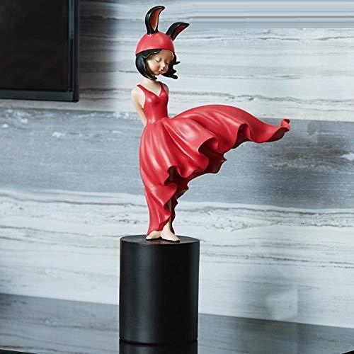 YXYSHX Esculturas Estatuas Adornos Estatuilla Figuras coleccionables Personaje Caperucita Roja Adorno de Escritorio Sala de Estar Vino Mueble de televisión Chica Decoración del hogar