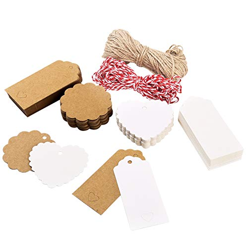 guansheng Etiketten anhänger,240Stück Kraftpapier Anhänger Handmade anhänger geschenkanhänger rund papierherzen Papier anhänger für Weihnachten mit 30M Juteschnur für Anhängeetiketten Schilder