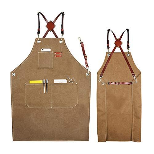 gszfsm001 Delantal de trabajo de lona multifuncional con bolsillos, adecuado para carpinteros, jardineros, peluquerías, jefes, servidores, pinturas, tatuajes y cerebros.