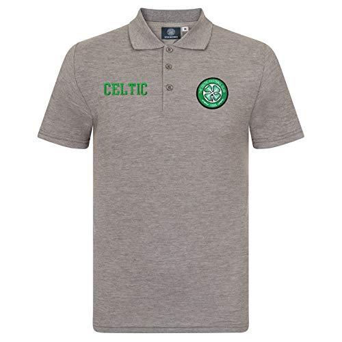 Celtic FC - Polo oficial para hombre - Con el escudo del club - Gris - XL