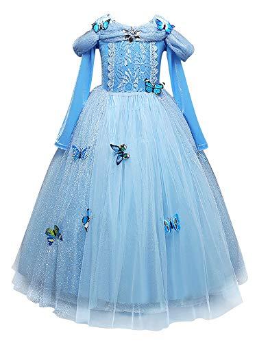 Eleasica Vestido Cenicienta para Nia Princesa Disfraz Cinderella Traje formal azul Hada Madrina Regalo Cumpleanos Conjunto de Broche Mariposa Cosplay Cenicienta Ceremonia de Baile Acto Teatro Musical