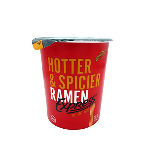 RAMEN EXPRESS Hotter & Spicier Ramen Cup Noodle, 2.25 Oz Each (Pack Of 12) by Chef Woo | Vegetarian | Kosher | Halal | Egg-Free and Dairy-Free